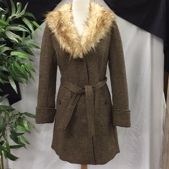 H&M Jackets & Blazers - H & M Tweed Jacket With Faux Fur Collar Coat